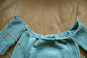 Knitting Tips: How to Join Sweater Pieces to Knit in the Round with Two Circular Needles III