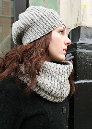 Easy Slouch Hat And Cowl Knitting Pattern Ribbed Hat And Cowl