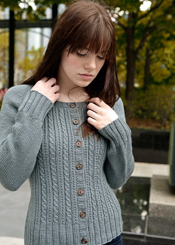 Modern Cardigan Knitting Patterns : Easy Cable Knitting Pattern - Cabled Cardigan Pattern - Chic Knits Velynda - ...